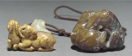 Two Chinese jade animal groups