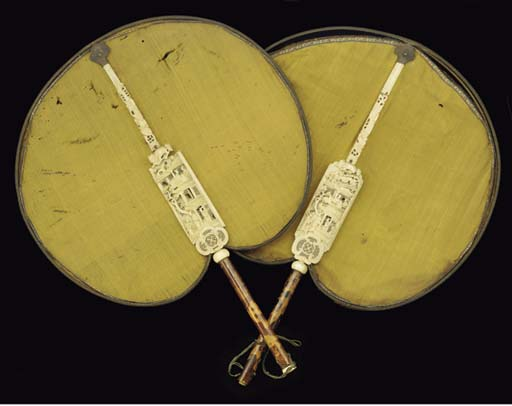 A pair of Cantonese silk fans,
