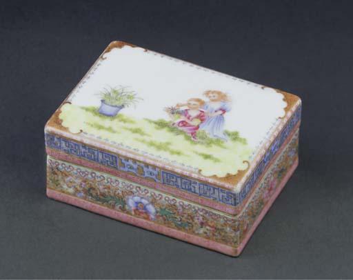 A famille rose rectangular box