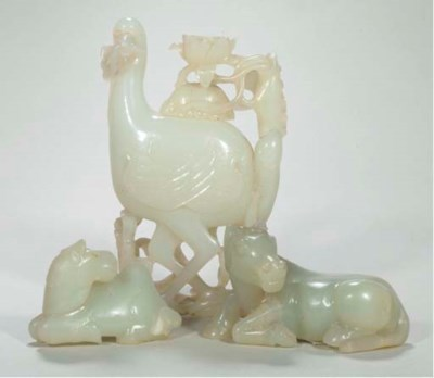 A pale celadon jade twin bird