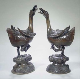 A Pair of bronze goose-shaped censers, Ming Dynasty, cast Ho