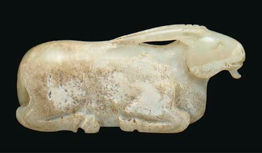 A white jade model of a ram, H