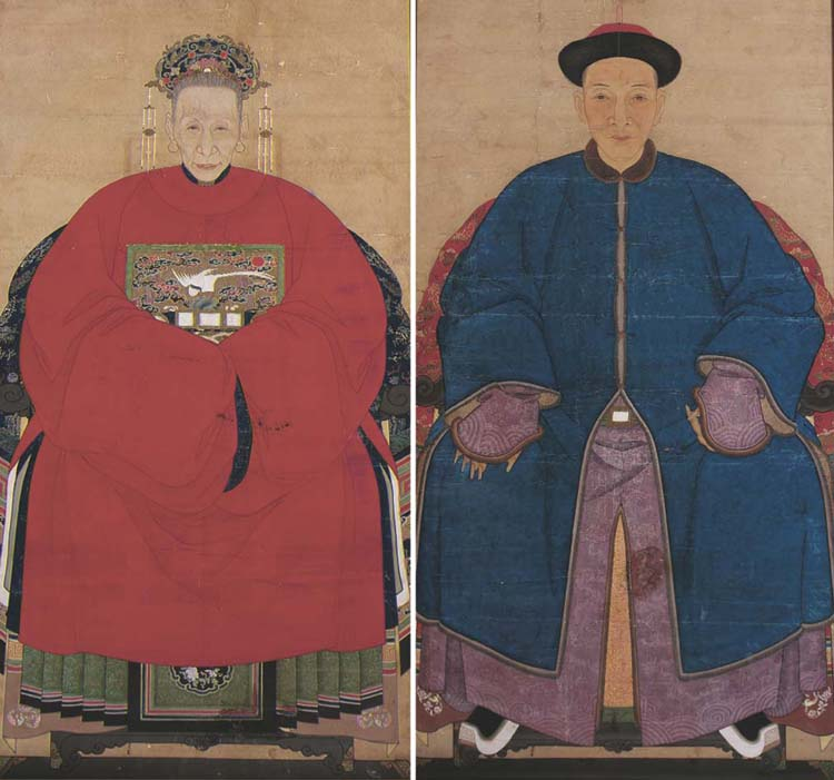 A pair of ancestor portraits,