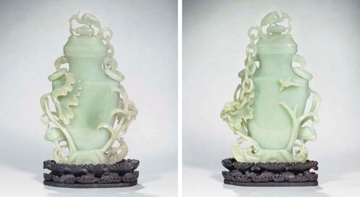 A celadon jade flattened vase
