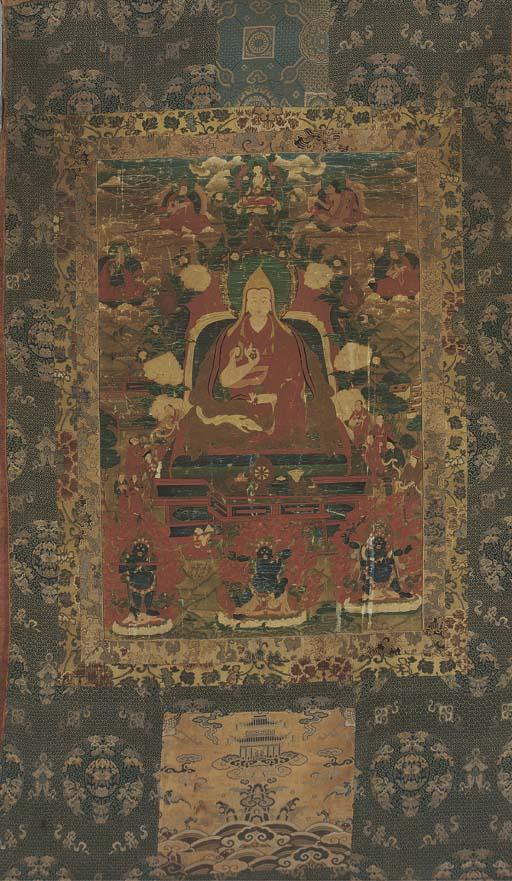 A Tibetan Thangka of Tsonkhapa