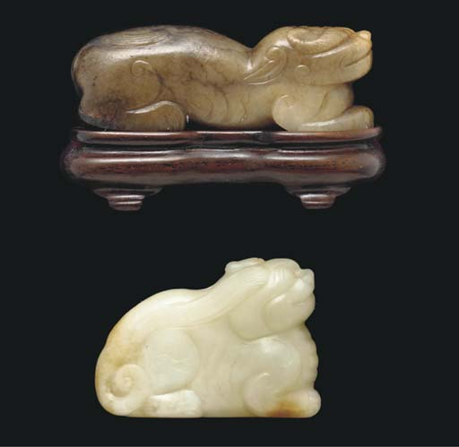 A brown and russet jade model