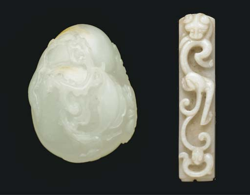 A white and russet jade model