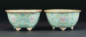 A pair of famille rose lobed planters, Daoguang