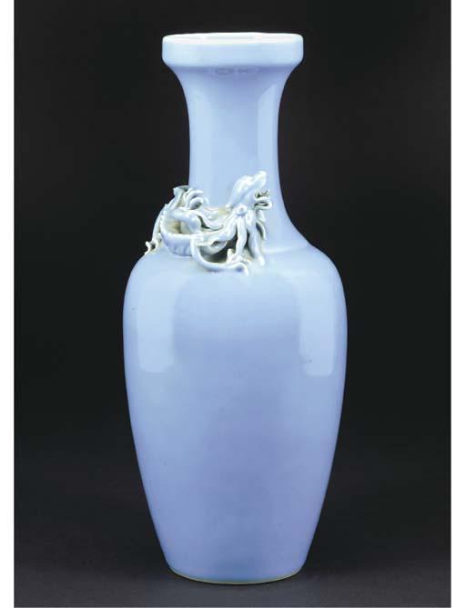 A lavender glazed baluster vas