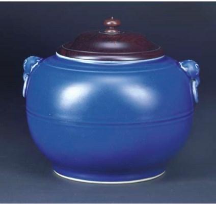 A blue glazed globular jar, Yo