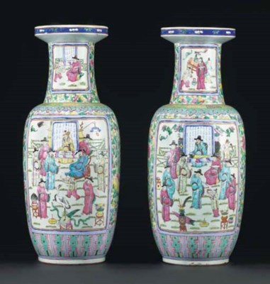 A pair of famille rose rouleau