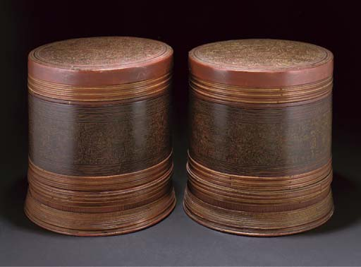 A Pair of South East Asian red and gilt lacquer circular boxes, 19th century