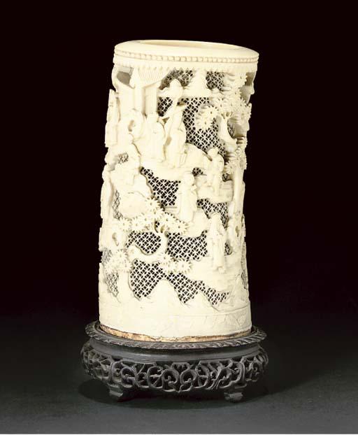 A Chinese ivory tusk vase, 19th Century