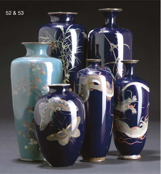 A collection of Japanese cloisonne vases, Meiji Period