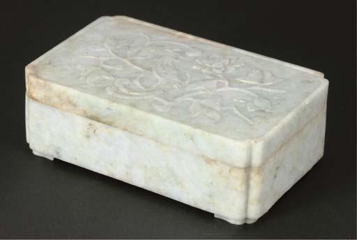 A Chinese jadeite rectangular box and flattened cover, 19th Century