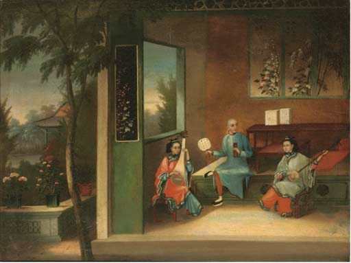A Chinese export painting, 19t