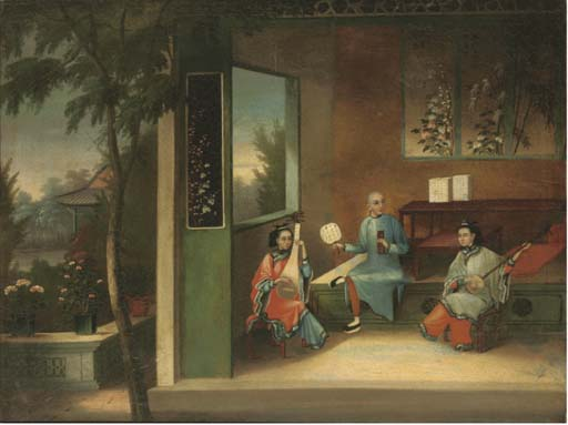 A Chinese export painting, 19th century