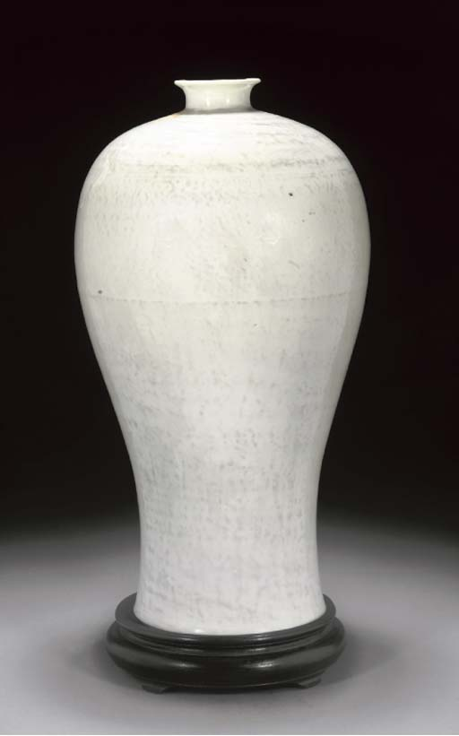 A Chinese white glazed meiping