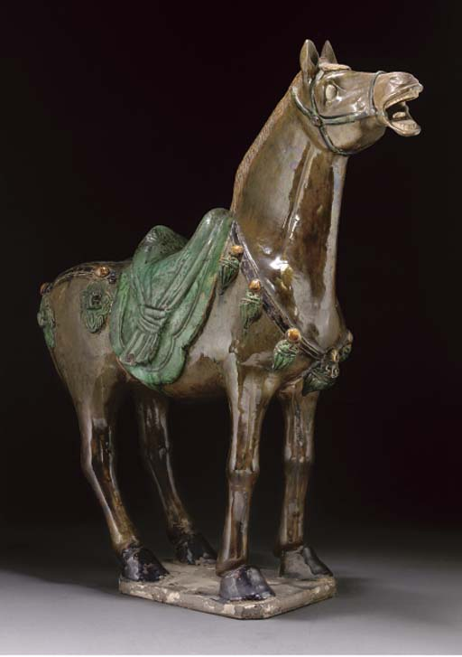 A Chinese Tang style glazed pottery of a horse, 20th century