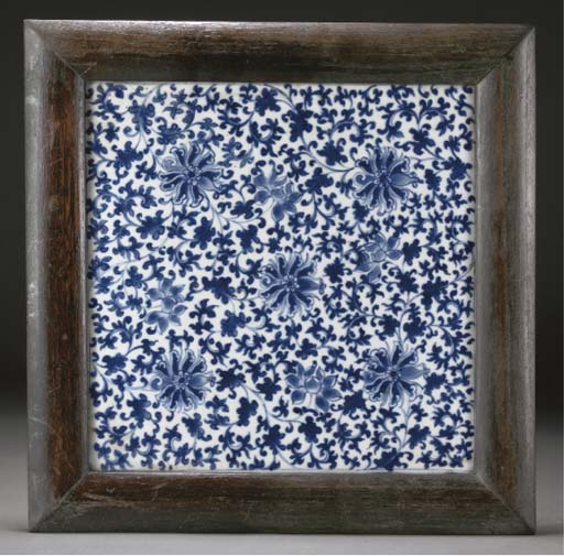 A Chinese blue and white square tile, 19th century