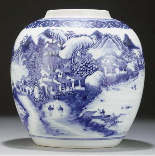 A Chinese soft paste blue and white ginger jar, 18th century