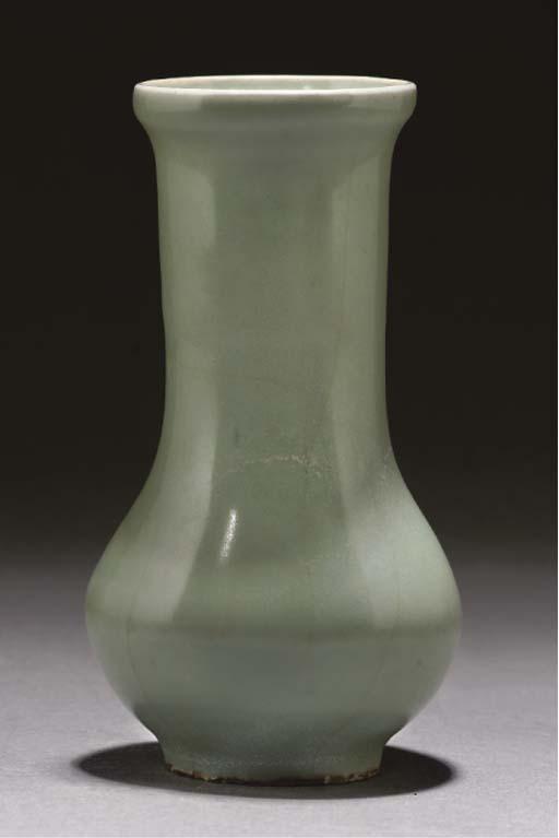 A Chinese celadon glazed bottle vase, Song dynasty