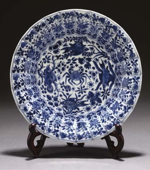 A Chinese blue and white dish, Kangxi