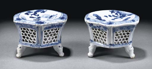 A pair of blue and white hexag