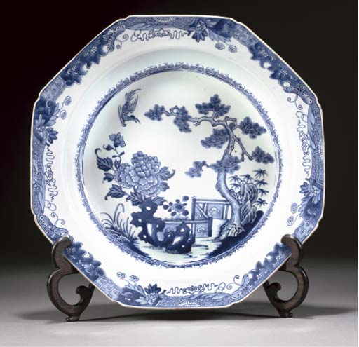 A Chinese blue and white octagonal basin, Qianlong