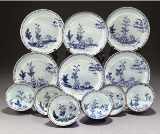 A set of twenty cafe-au-lait ground blue and white teabowls and saucers, circa 1750