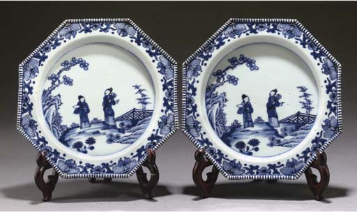 A pair of Chinese blue and white octagonal plates, Qianlong