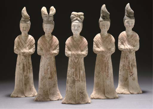 A set of five painted pottery models of ladies, Tang dynasty