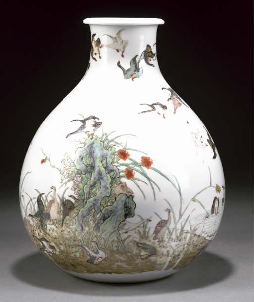 A polychrome pear-shaped vase,