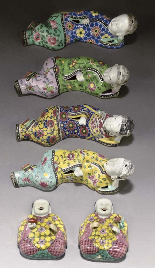 Six Chinese famille rose wall pockets, 18th century