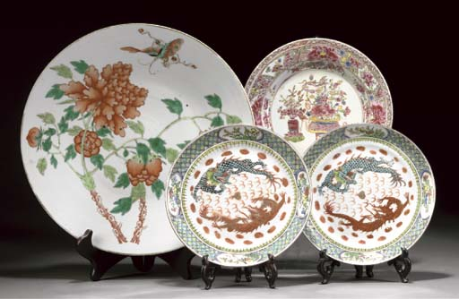 A Chinese famille verte charger, 19th century