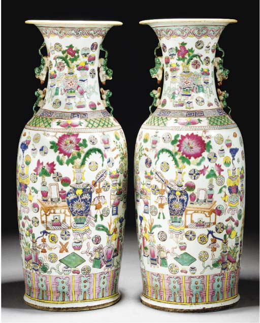 A pair of Cantonese famille rose vases, 19th century
