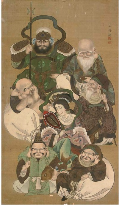 A Japanese painting on silk, 1