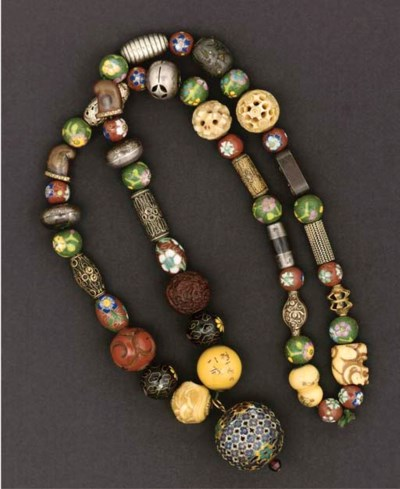 An ojime necklace, 19th/20th C