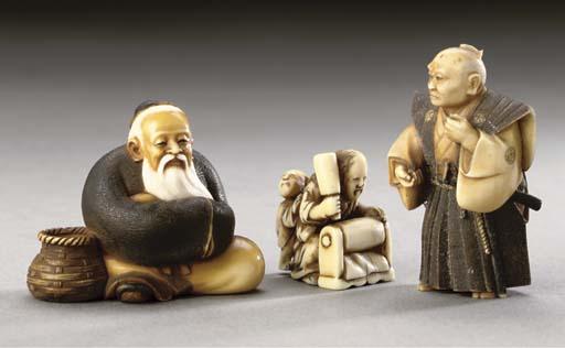 Three ivory netsuke, 19th and