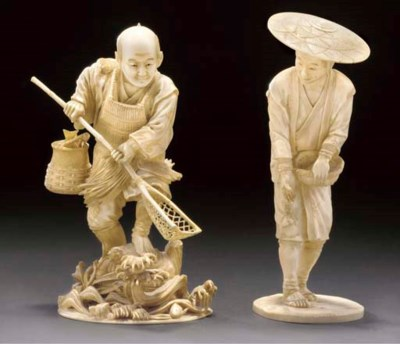 An ivory okimono of fisherman,