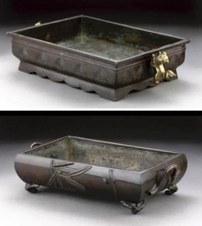 Two shallow rectangular bronze