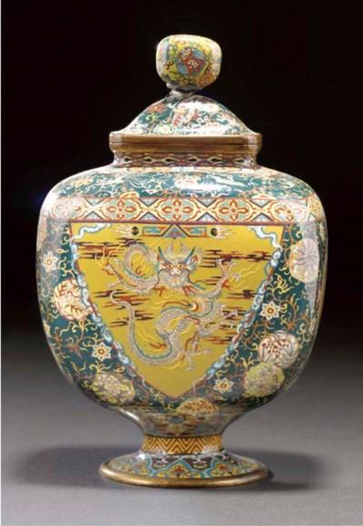 A silver wire cloisonne vase a
