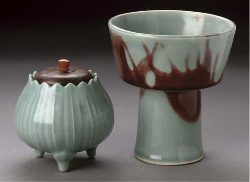 A Japanese pale celadon glazed