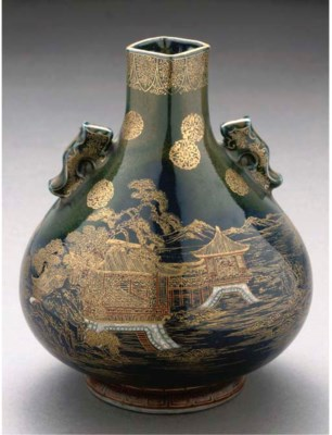 A Japanese enameled and gilt p