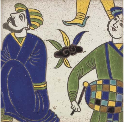 A CUERDA SECA SAFAVID POTTERY TILE, IRAN, 17TH CENTURY