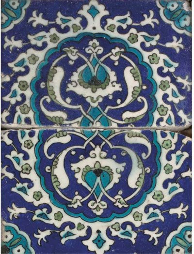 TWO DAMASCUS POTTERY TILES, SY