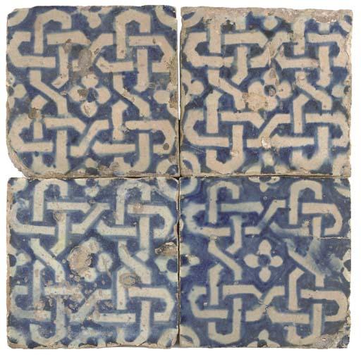 FOUR BLUE AND WHITE TILES, POS