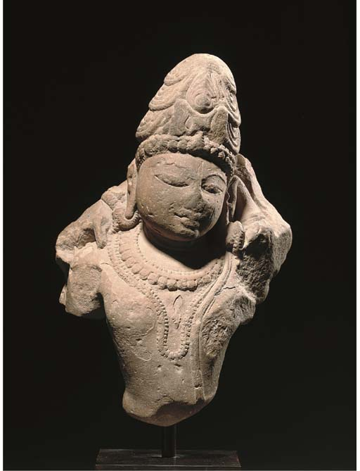 A RED SANDSTONE FIGURE OF SHIV