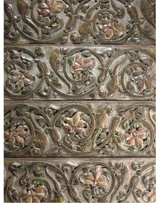 FOUR MUGHAL CARVED WOOD PANELS