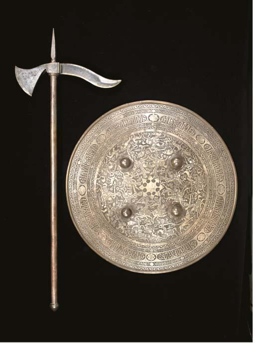 A QAJAR STEEL SHIELD, IRAN, 19TH CENTURY